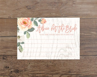 Rustic Peach Advice For The Bride Printable Bridal Shower Advice Cards Peach Floral Bridal Shower Game Bridal Shower Activity Wood 252