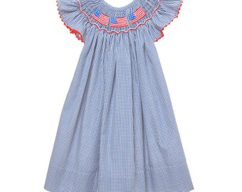 Hand Smocked Flag Bishop Dress
