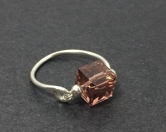 Blush Rose Crystal Swarovski Crystal Ring ~ Wire Wrapped Ring ~ Wire Wrap Ring ~ Swarovski Ring ~ Sterling Silver Ring