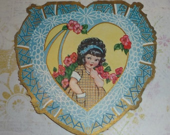 Curly Haired Girl Art Deco Vintage Valentine Postcard