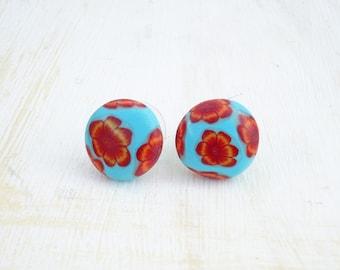 Small flower stud earrings: Floral women studs - Turquoise small studs - Small studs - Millefiori - Ear studs women - Stud earrings