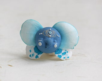 Elephant Brooch, Ganesha, Blue Brooch, Magic Brooch,Magic Jewelry, Face Brooch, Miracle, Fairy Tale, Faerie, Faery, Mysterious, Fantasy