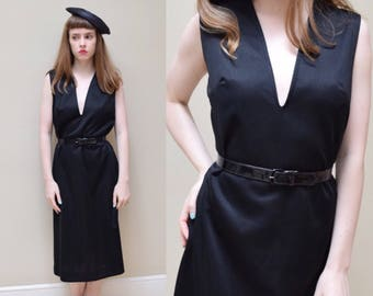 70s French Plunging Neckline A Line Shift // Parisian Bombshell Pinup  Little Black Party Dress // S M