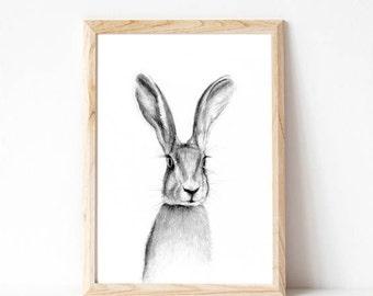 woodland bunny print, nursery rabbit print, rabbit print decor, rabbit, gifts for her 2017, rabbit print art, forest nursery, rabbit print