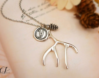 Personalized Initial Necklace, Silver Antler Necklace Silver Deer Necklace Silver Pinecone Necklace Christmas Gift for Her Christmas Jewelry