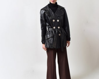 1960s Black Leather Belted Jacket 60s Vintage Real Leather Double Breasted Coat Mod L