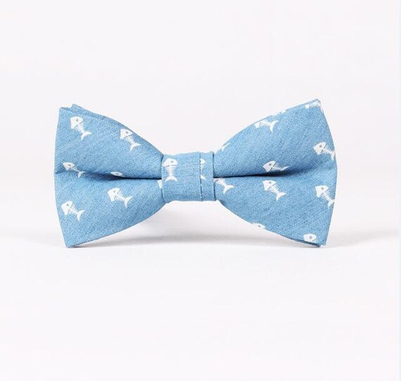 Blue fish bowties mens bowtie with fish wedding for Fish bow tie
