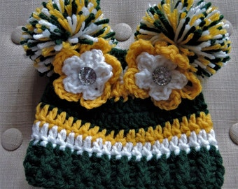 Crochet Football hat, Luv Beanies, Green Bay Packers inspired, Packers hats, Packers beanie, girl football hats, baby hats, baby beanie