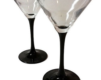 Black Stemmed Martini Glasses