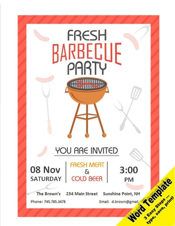 grill party einladung editierbare word-vorlage druckbare, Einladung