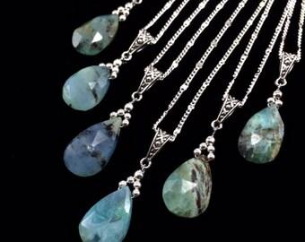 Peruvian Blue Opal Pendant Necklace/ Peruvian Blue Opal/ blue/ green/ gemstone/ Pendant/ Necklace/ Nature/ Art/ Jewelry