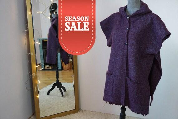 Purple Aztec Poncho I Wool Poncho I button-up-poncho I Hooded-Poncho I Poncho out of Wool I