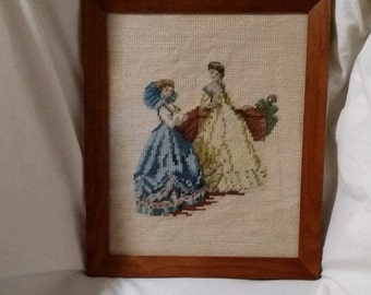 Vintage needlepoint picture/custom framed