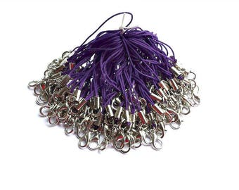20 Purple Cell Phone Straps/Zipper Pulls/With Lobster Clasps