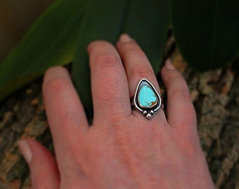 Turquoise Ring, Turquoise Jewelry, Sterling silver Ring, Number 8 turquoise, Handmade, Elegant ring, Baby blue stone, Split Shank