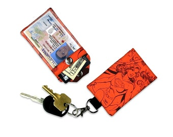 DC Comics Supergirl Female Superheros Mini Wallet Card Holder Keychain Clear ID Holder Small Wallet Student ID Badge Credit Card Keychain