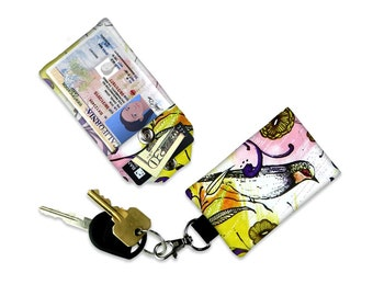 Sketched Bird Flowers & Filagree Mini Wallet Card Holder Keychain Clear ID Holder Small Wallet Student ID Badge Credit Card Pink Yellow Bag