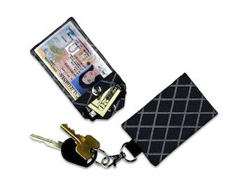 Black Argile Tonal Small Wallet Card Holder Keychain Clear ID Holder Mini Chevron Wallet Student ID Badge Credit Card Spray Paint Tonal