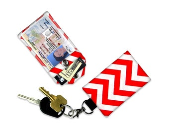 Red Chevron Mini Wallet Card Holder Red Keychain Clear ID Holder Small Wallet ID Wallet Minimalist Wallet Student ID Badge Credit Card