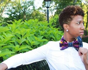 Ankara Women's bowtie - African print Bow tie - Purple Bow tie -