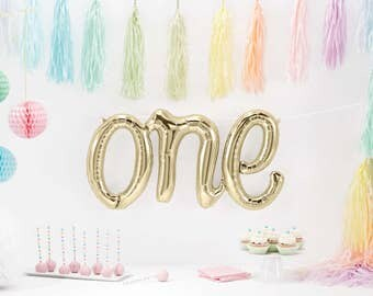 One Script Balloon - First Birthday Party - Birthday Decor - Smash Cake Photo Prop - First Birthday Photo Prop - Mylar/Foil/Letter Balloon
