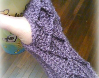 """Fingerless Gloves - """"Cabled"""" Fingerless Mitts - Color of your Choice!"""