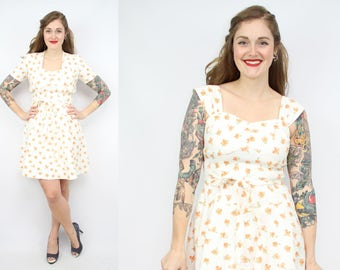 Vintage 70's White Mini Dress / Sundress / 3 Piece Set / 1970's Dress and Jacket / Peach Flowers / Floral Sun Dress / Women's Size Medium
