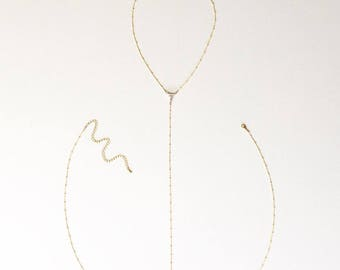 The Corina Body Chain, clear quartz body chain