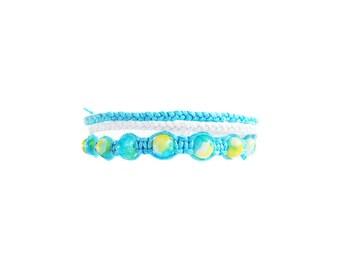 Beaded Macrame Bracelet Set, Beach Bracelet, Friendship Bracelet, Festival Jewelry, Stackable Bracelet, Wax Cord Bracelet, Best Friend Gift