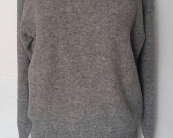 Vintage Women's Gray Wool Sweater High Neck Plus Size XL/XXL