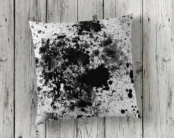 Black Paint Splash Pillow, Black Paint Splatter Pillow, Black Pillow Case, Black Throw Pillow, Black Paint Spill Pillow, Black White Room