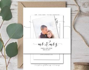 Wedding Invitation Belly Band, Printable Template, Wedding Belly Band, Invitation Wrapper, Mr and Mrs, DIY Editable PDF Printable File