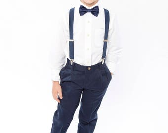 Navy Bow Tie, Navy Suspenders, Navy Pocket Square -- Ring Bearer Outfit -- Groomsmen Bow Tie Suspenders