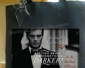 Fifty Shades Darker Cotton Tote, Choose Between 2 Designs, Christian Grey, Anastasia Steele, Fifty Shades of Grey Books & Movies Series, Art