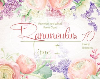 Watercolour Ranunculus bouquets, Hand painted Clipart collection, Wedding invitation, DIY, greeting card, PNG, Scrapbooking,