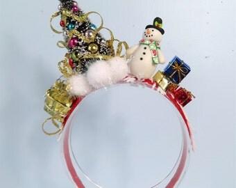 adult Christmas headband, tree headband, snowman headband, ugly Christmas Sweater Party, ugly sweater party decor, Christmas hair piece