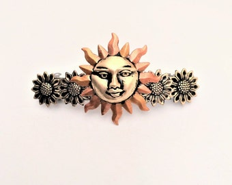 Hair Barrette Sun Sunflowers, Sun Hair Clip, French Hair Barrette, Large Barrette, Women Barrette