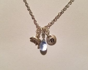 Birthstone March Aquamarine necklace dolphin Aquamarine March birthstone Aquamarine dolphin birthstone necklace Aquamarine birthstone charm