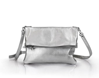Silver Leather Crossbody Bag | Ladies Silver Bag | Crossbody Bag | Metallic Clutch transformer | Leather Clutch Bag with Lining