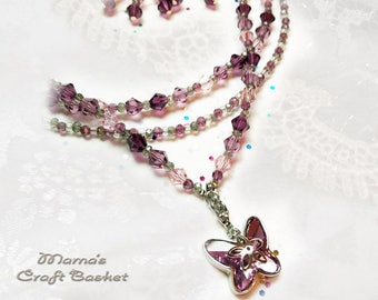 Luscious Pink Swarovski Butterfly Tri-Strand Necklace, Sparkly, Purple, Women's, Ladies', Teen's, Charms, Insects, Silver, Star, Pendants