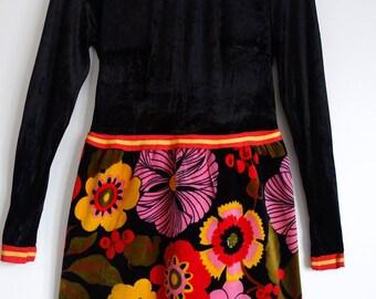 Beautiful Vintage Frank Usher Evening Maxi Dress Psychedelic 12 1970s Velvet