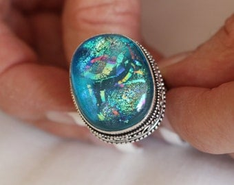 Dichroic Glass Ring-size 8.5!