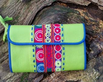SALE*****Buttery Soft Leather Clutch With Pashtun Textile
