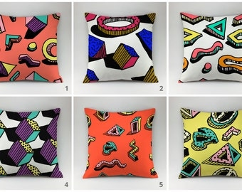 Memphis style pillow cover Decorative pillow Throw pillow case memphis decor modern pillows Memphis pillow bench pillow multicolor pillow