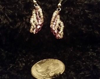Purple Spiral Earrings - Steel Hooks