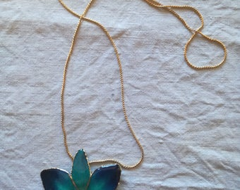 Real Orchid Pendant Blue