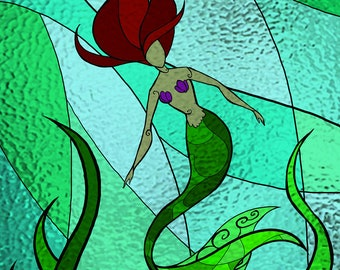 Mermaid Stained Glass print