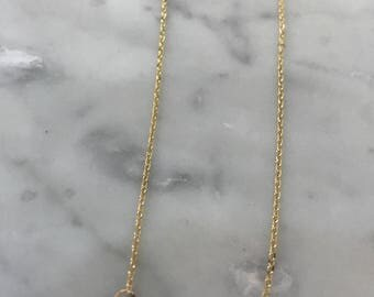 """Twin love. 14k yellow gold double heart. 16"""" 14k yellow gold cable chain."""