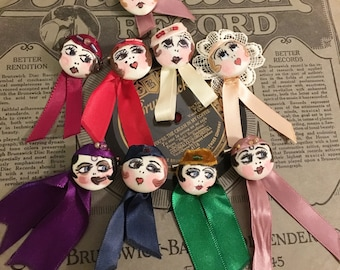 Flapper girl button pin 1920s inspired handmade - Sally