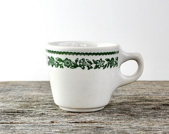 Vintage Buffalo China Coffee Cup, Coffee Mug, Kenmore Pattern Green Floral Flower, 60s Restaurant Ware Restaurantware, Diner ware Dinerware